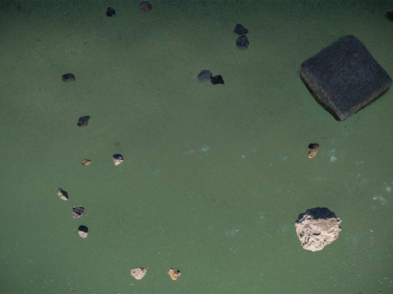 Photo zeigt einen grünen Teich mit Steinen darin.