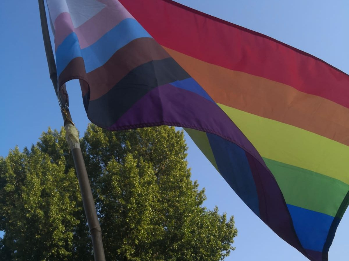 Bild eigt die Regenbogenfahne inklusive brauner und schwarzen Streifen und den Transfarben als Eck