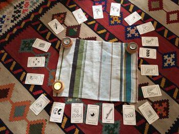 Das Bild zeigt Karten, aus einem Set aus dem Coachingbereich. Die Karten zeigen positive Qualitäten, Eigenschaften oder Fähigkeiten, und sind in einem Kries um eine Kerze herum, aufgelegt.